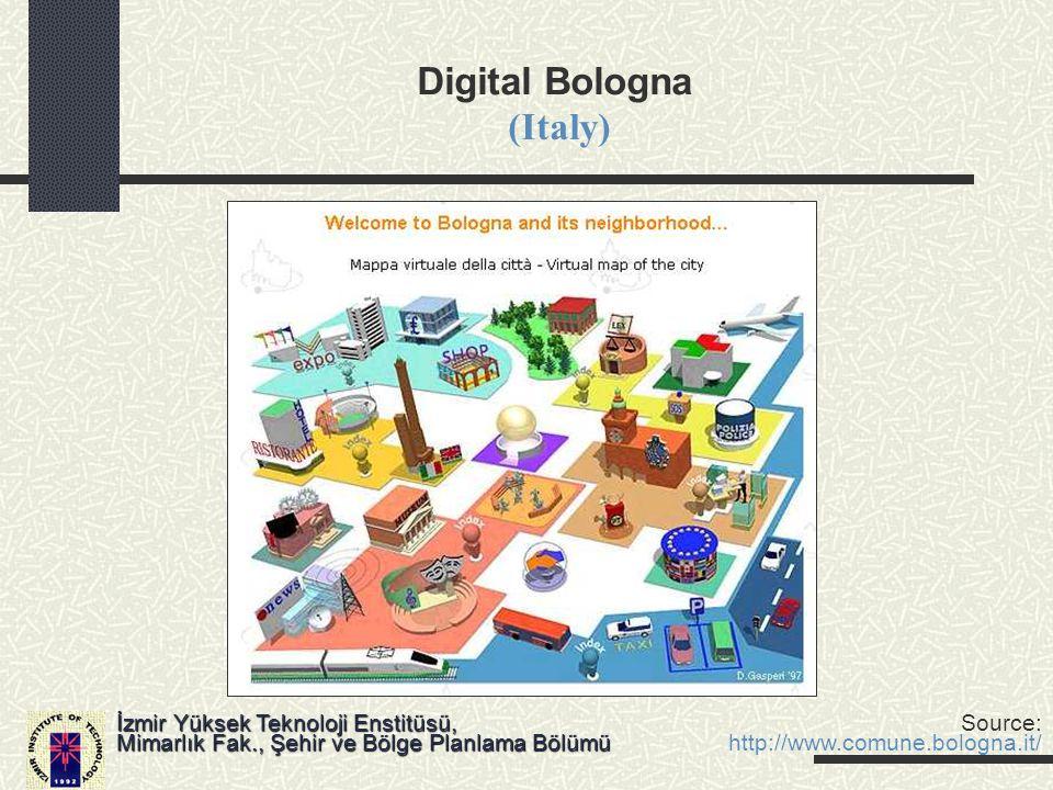 Digital Bologna (Italy) İzmir Yüksek Teknoloji Enstitüsü, Mimarlık Fak., Şehir ve Bölge Planlama Bölümü Source: http://www.comune.bologna.it/