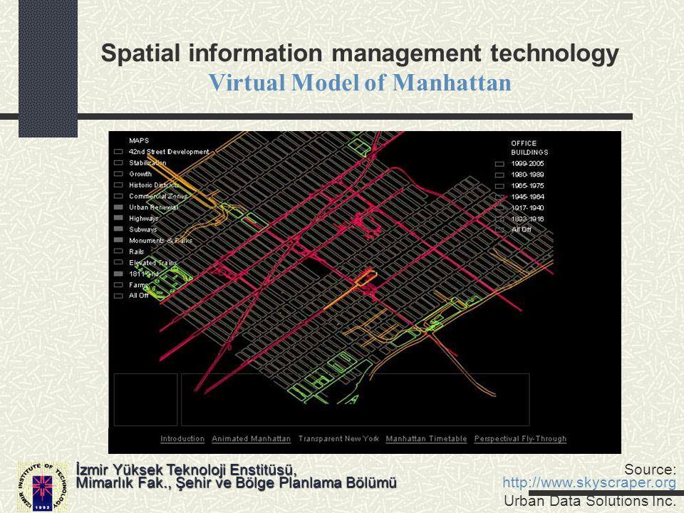 Spatial information management technology Virtual Model of Manhattan İzmir Yüksek Teknoloji Enstitüsü, Mimarlık Fak., Şehir ve Bölge Planlama Bölümü S