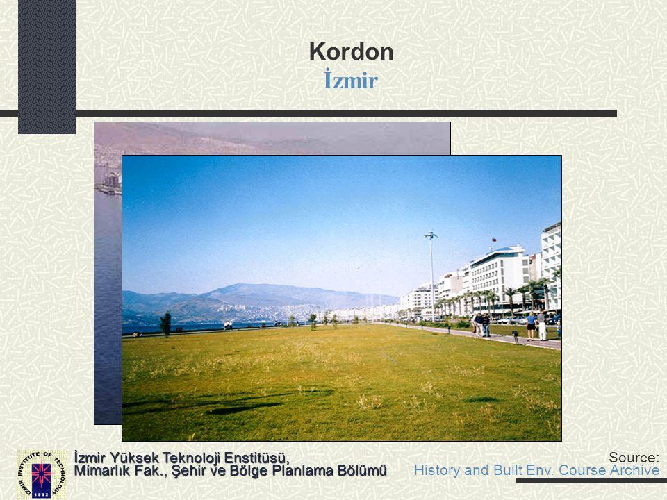 Kordon İzmir İzmir Yüksek Teknoloji Enstitüsü, Mimarlık Fak., Şehir ve Bölge Planlama Bölümü Source: History and Built Env. Course Archive