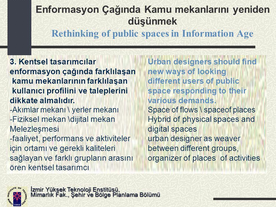 Enformasyon Çağında Kamu mekanlarını yeniden düşünmek Rethinking of public spaces in Information Age İzmir Yüksek Teknoloji Enstitüsü, Mimarlık Fak.,