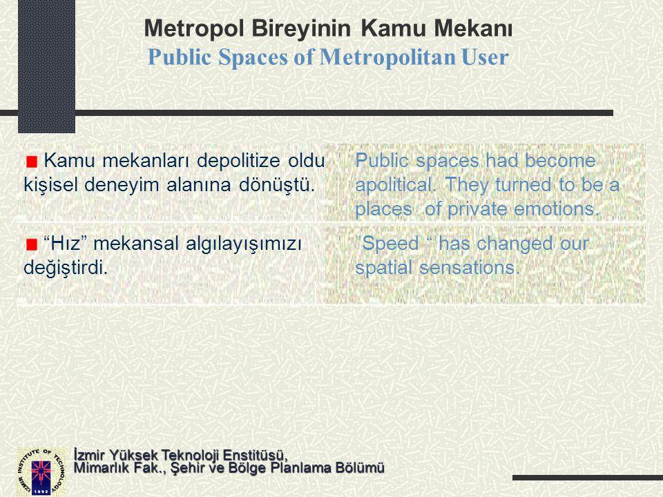 Metropolün Kamu Mekanı ve Sorunları Public Spaces of Metropolis and its Problems İzmir Yüksek Teknoloji Enstitüsü, Mimarlık Fak., Şehir ve Bölge Planlama Bölümü Kamu mekanlarının özelleşmesiPrivatization of Public Spaces Kamu mekanlarının tasarımında,Rising control on design and kullanımında artan denetim uses of public spaces Artan ırk ve sınıf ayrımı,Increase in racism and social İkili-kentin doğuşuconflicts, dual city scene Yerel coğrafya ve tarihle olanSimulated environments that bağlarını koparan tasarımlarbreaks its ties with localities Tüketim ve eğlence motiflerininEmphasize on consumption and vurgulanmasıentertainment Yeni Teknolojilerle yüz-yüzeDecrease in face-to-face İletişimin zayıflaması interaction due to ICT's