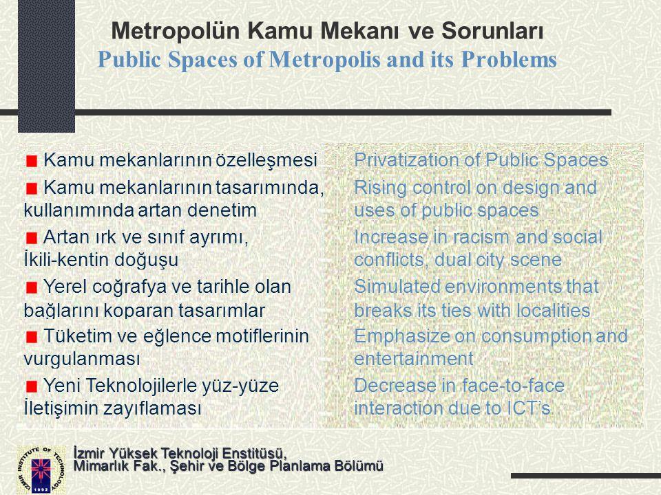 Metropolün Kamu Mekanı ve Sorunları Public Spaces of Metropolis and its Problems İzmir Yüksek Teknoloji Enstitüsü, Mimarlık Fak., Şehir ve Bölge Planl