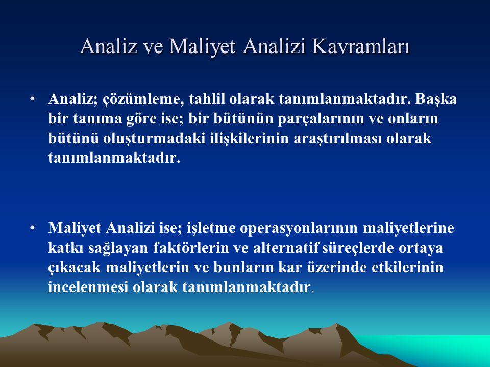 Analiz ve Maliyet Analizi Kavramları Analiz; çözümleme, tahlil olarak tanımlanmaktadır.