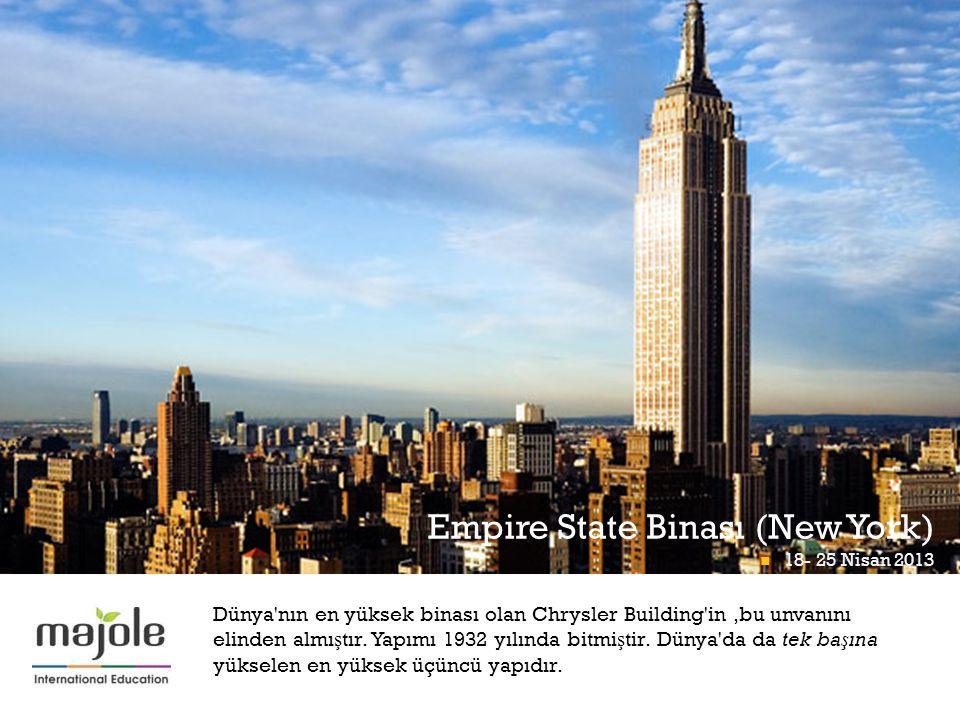 + Empire State Binası (New York) 18- 25 Nisan 2013 Math Midway At Momath 18- 25 Nisan 2013 Dünya nın en yüksek binası olan Chrysler Building in,bu unvanını elinden almı ş tır.