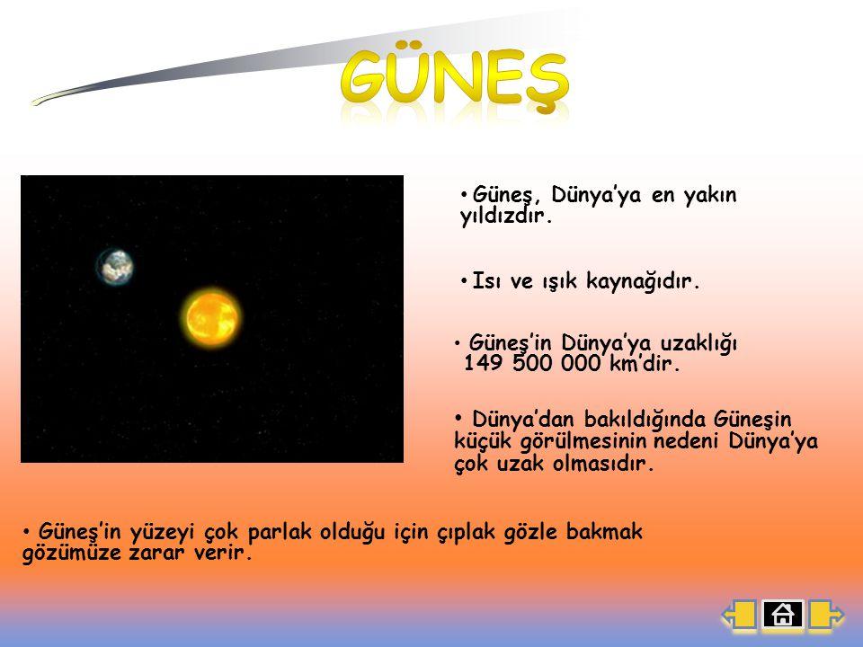 Isı ve ışık kaynağıdır.Güneş'in Dünya'ya uzaklığı 149 500 000 km'dir.