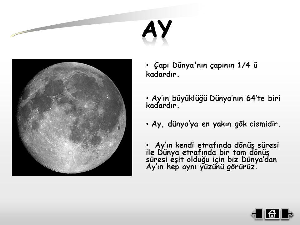Çapı Dünya nın çapının 1/4 ü kadardır.Ay, dünya'ya en yakın gök cismidir.