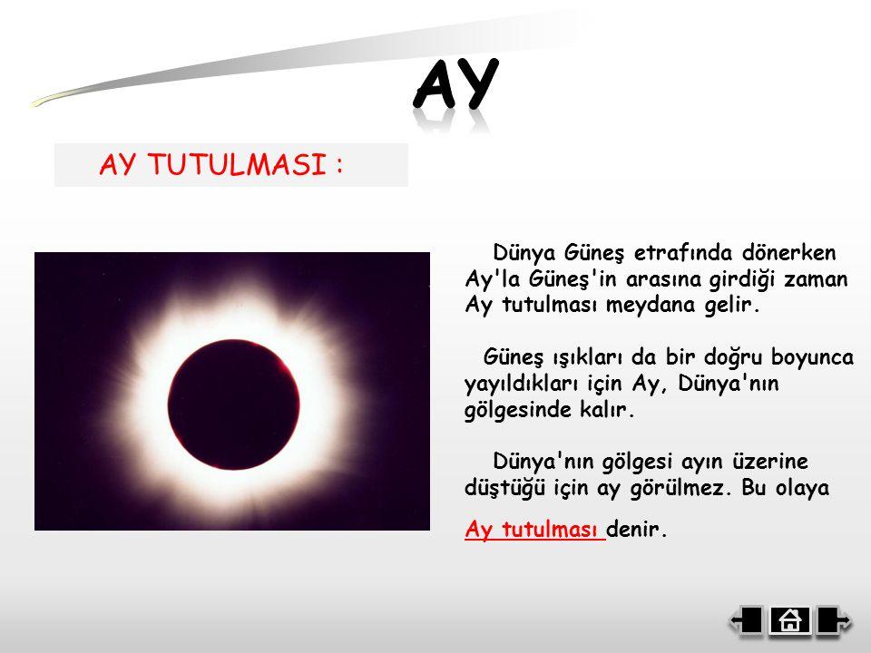 AY TUTULMASI : Dünya Güneş etrafında dönerken Ay la Güneş in arasına girdiği zaman Ay tutulması meydana gelir.