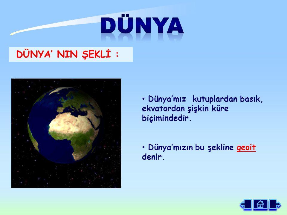 Dünya'mız kutuplardan basık, ekvatordan şişkin küre biçimindedir.