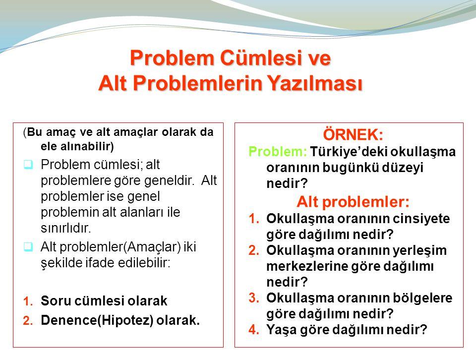 (Bu amaç ve alt amaçlar olarak da ele alınabilir)  Problem cümlesi; alt problemlere göre geneldir. Alt problemler ise genel problemin alt alanları il