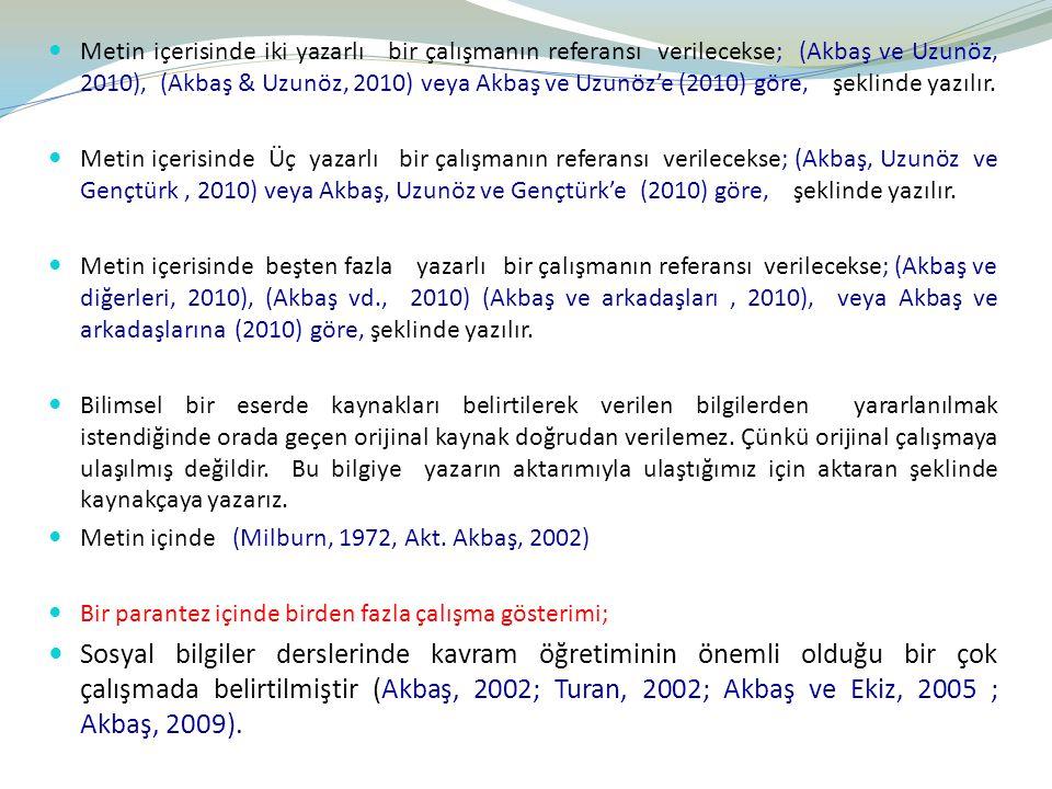 Metin içerisinde iki yazarlı bir çalışmanın referansı verilecekse; (Akbaş ve Uzunöz, 2010), (Akbaş & Uzunöz, 2010) veya Akbaş ve Uzunöz'e (2010) göre,