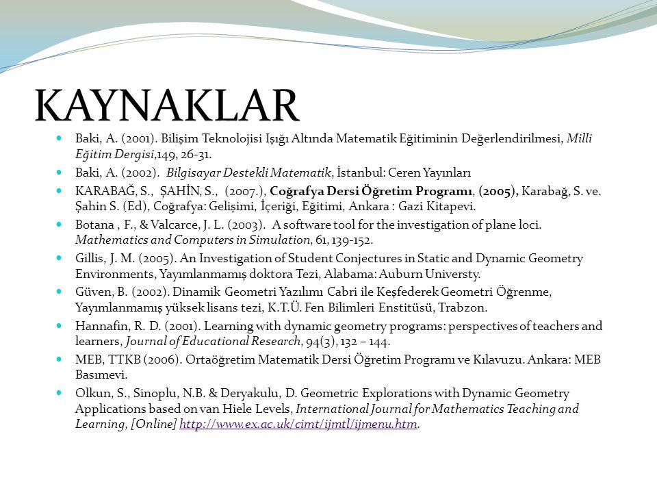 KAYNAKLAR Baki, A. (2001). Bilişim Teknolojisi Işığı Altında Matematik Eğitiminin Değerlendirilmesi, Milli Eğitim Dergisi,149, 26-31. Baki, A. (2002).