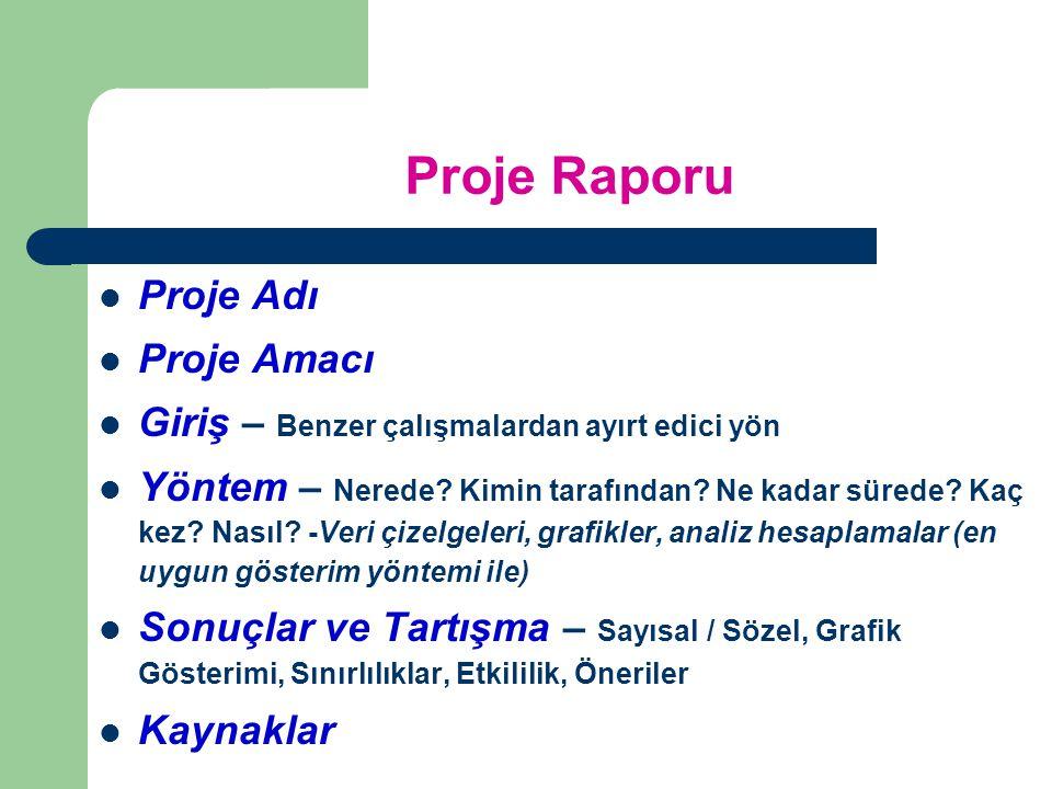Proje Raporu Proje Adı Proje Amacı Giriş – Benzer çalışmalardan ayırt edici yön Yöntem – Nerede.