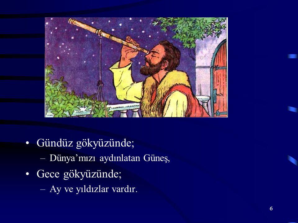 6 Gündüz gökyüzünde; –Dünya'mızı aydınlatan Güneş, Gece gökyüzünde; –Ay ve yıldızlar vardır.