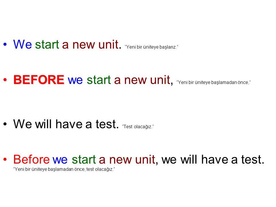 We start a new unit.