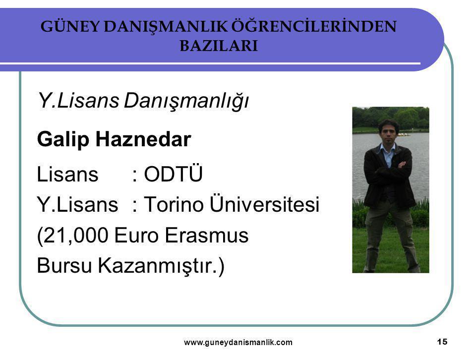 GÜNEY DANIŞMANLIK ÖĞRENCİLERİNDEN BAZILARI Y.Lisans Danışmanlığı Galip Haznedar Lisans: ODTÜ Y.Lisans : Torino Üniversitesi (21,000 Euro Erasmus Bursu