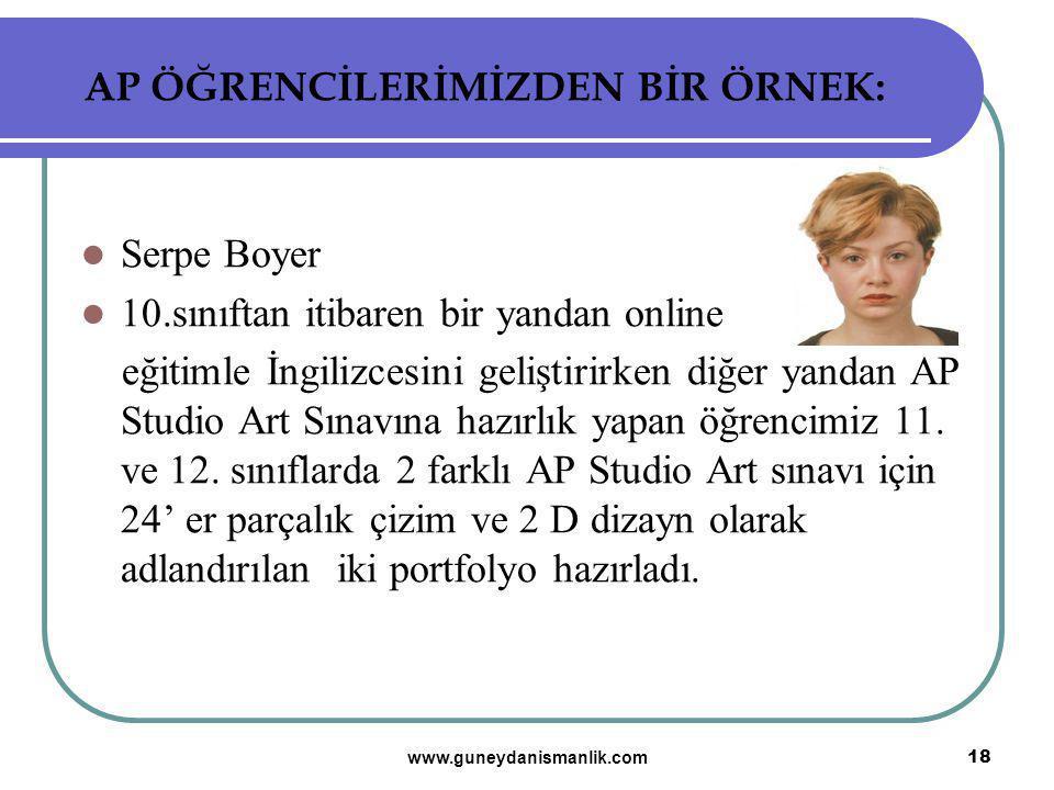 AP ÖĞRENCİLERİMİZDEN BİR ÖRNEK: Serpe Boyer 10.sınıftan itibaren bir yandan online eğitimle İngilizcesini geliştirirken diğer yandan AP Studio Art Sın