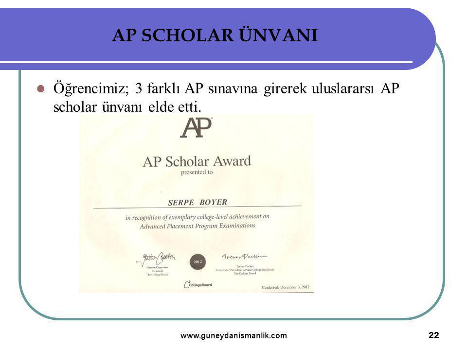 AP SCHOLAR ÜNVANI Öğrencimiz; 3 farklı AP sınavına girerek uluslararsı AP scholar ünvanı elde etti. 22 www.guneydanismanlik.com