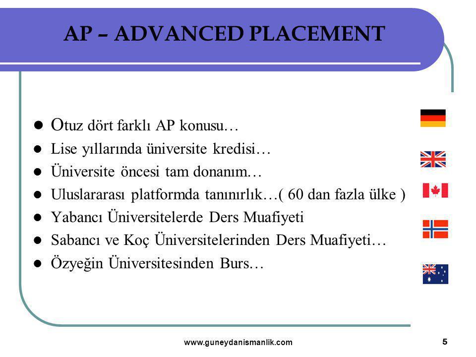 O tuz dört farklı AP konusu… Lise yıllarında üniversite kredisi… Üniversite öncesi tam donanım… Uluslararası platformda tanınırlık…( 60 dan fazla ülke
