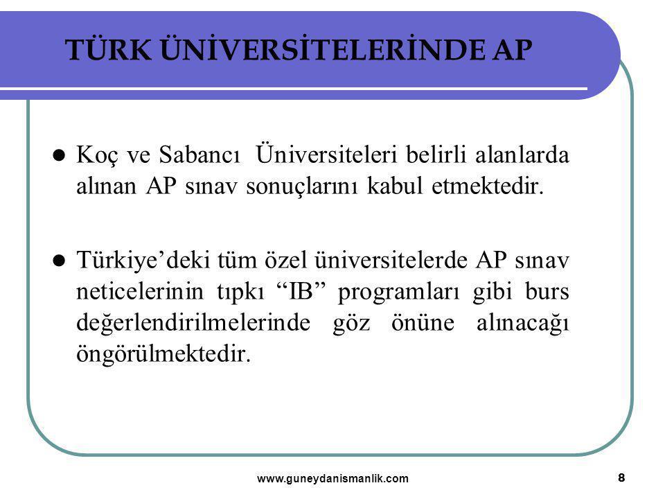 TÜRK ÜNİVERSİTELERİNDE AP Koç ve Sabancı Üniversiteleri belirli alanlarda alınan AP sınav sonuçlarını kabul etmektedir. Türkiye'deki tüm özel üniversi