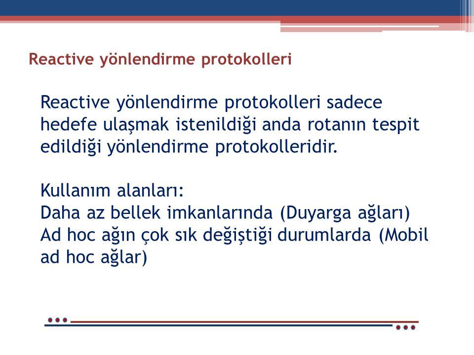 Reactive yönlendirme protokolleri Reactive yönlendirme protokolleri sadece hedefe ulaşmak istenildiği anda rotanın tespit edildiği yönlendirme protokolleridir.