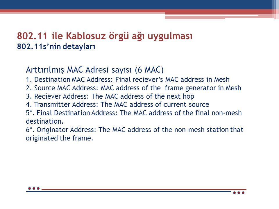 802.11 ile Kablosuz örgü ağı uygulması 802.11s'nin detayları Arttırılmış MAC Adresi sayısı (6 MAC) 1. Destination MAC Address: Final reciever's MAC ad