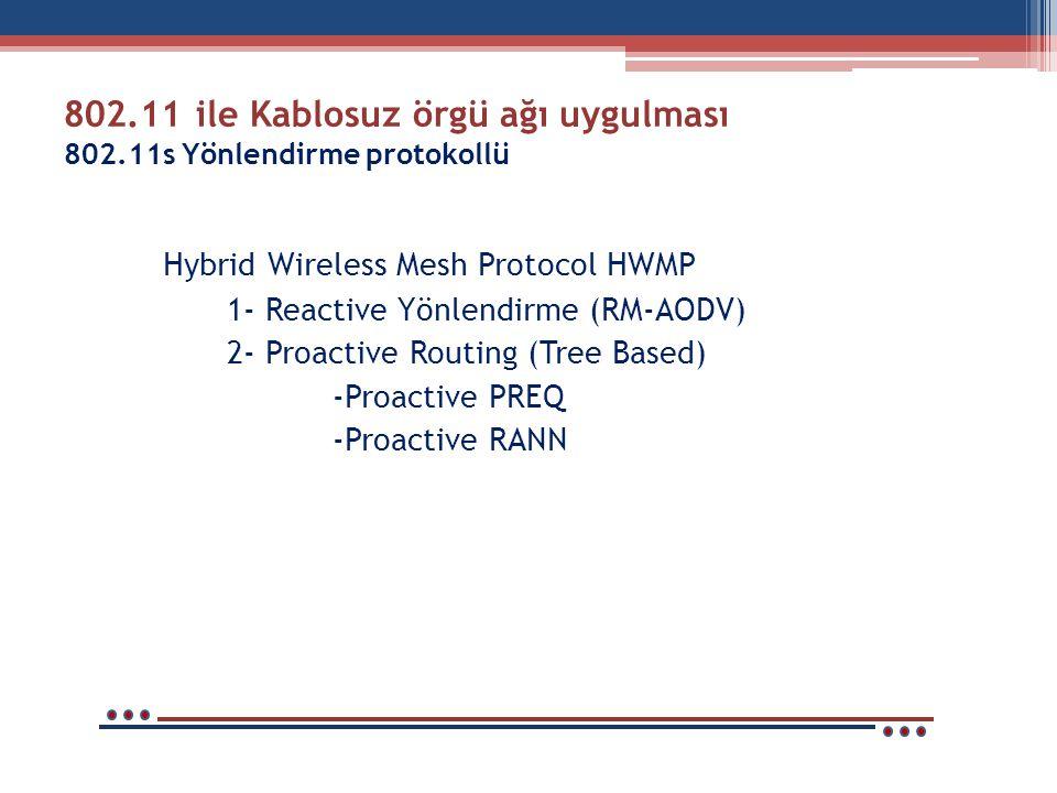 802.11 ile Kablosuz örgü ağı uygulması 802.11s Yönlendirme protokollü Hybrid Wireless Mesh Protocol HWMP 1- Reactive Yönlendirme (RM-AODV) 2- Proactive Routing (Tree Based) -Proactive PREQ -Proactive RANN