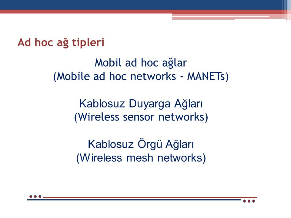 Mobil ad hoc ağlar (Mobile ad hoc networks - MANETs) Kablosuz Duyarga Ağları (Wireless sensor networks) Kablosuz Örgü Ağları (Wireless mesh networks) Ad hoc ağ tipleri