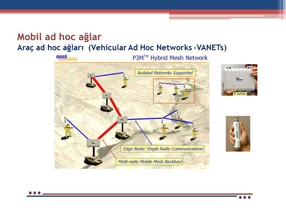 Mobil ad hoc ağlar Araç ad hoc ağları (Vehicular Ad Hoc Networks -VANETs)