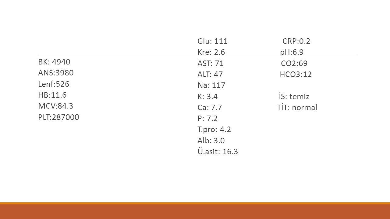 BK: 4940 ANS:3980 Lenf:526 HB:11.6 MCV:84.3 PLT:287000 Glu: 111 CRP:0.2 Kre: 2.6 pH:6.9 AST: 71 CO2:69 ALT: 47 HCO3:12 Na: 117 K: 3.4 İS: temiz Ca: 7.