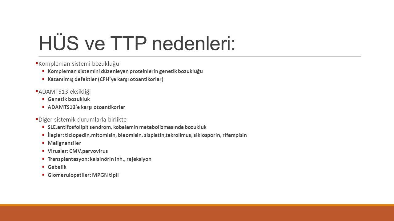 HÜS ve TTP nedenleri:  Kompleman sistemi bozukluğu  Kompleman sistemini düzenleyen proteinlerin genetik bozukluğu  Kazanılmış defektler (CFH'ye kar