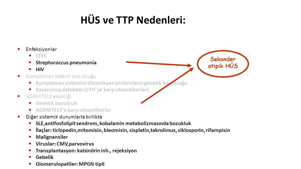 HÜS ve TTP Nedenleri:  Enfeksiyonlar  STEC  Streptococcus pneumonia  HIV  Kompleman sistemi bozukluğu  Kompleman sistemini düzenleyen proteinler