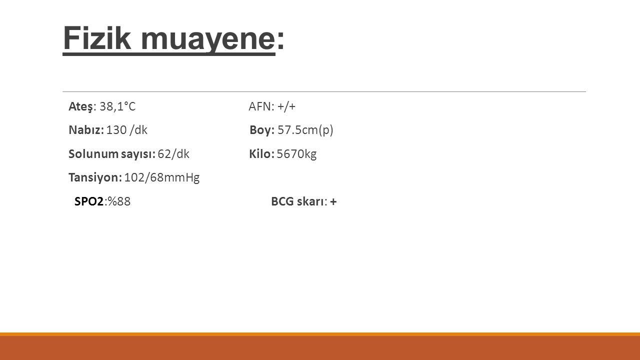 Fizik muayene: Ateş: 38,1°C AFN: +/+ Nabız: 130 /dk Boy: 57.5cm(p) Solunum sayısı: 62/dk Kilo: 5670kg Tansiyon: 102/68mmHg SPO2:%88 BCG skarı: +