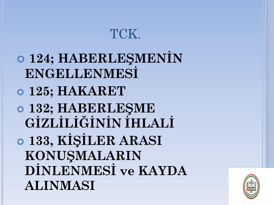 TCK. 124; HABERLEŞMENİN ENGELLENMESİ 125; HAKARET 132; HABERLEŞME GİZLİLİĞİNİN İHLALİ 133, KİŞİLER ARASI KONUŞMALARIN DİNLENMESİ ve KAYDA ALINMASI