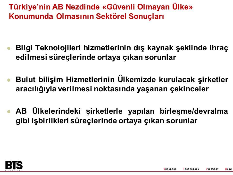 Türkiye'nin AB Nezdinde «Güvenli Olmayan Ülke» Konumunda Olmasının Sektörel Sonuçları Bilgi Teknolojileri hizmetlerinin dış kaynak şeklinde ihraç edil