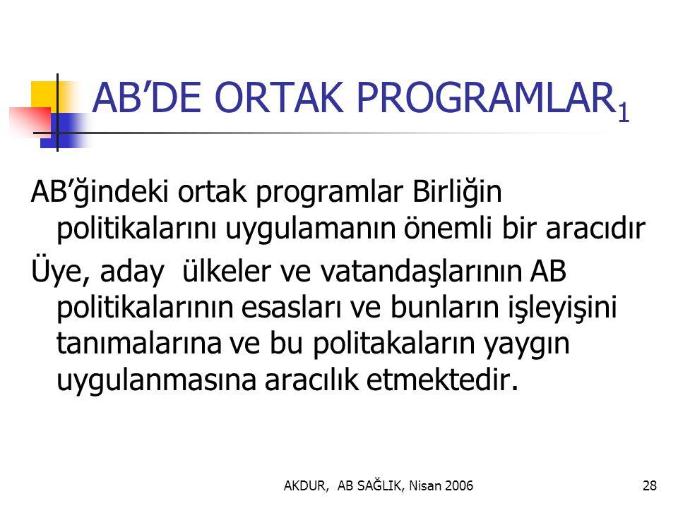 AKDUR, AB SAĞLIK, Nisan 200628 AB'DE ORTAK PROGRAMLAR 1 AB'ğindeki ortak programlar Birliğin politikalarını uygulamanın önemli bir aracıdır Üye, aday ülkeler ve vatandaşlarının AB politikalarının esasları ve bunların işleyişini tanımalarına ve bu politakaların yaygın uygulanmasına aracılık etmektedir.