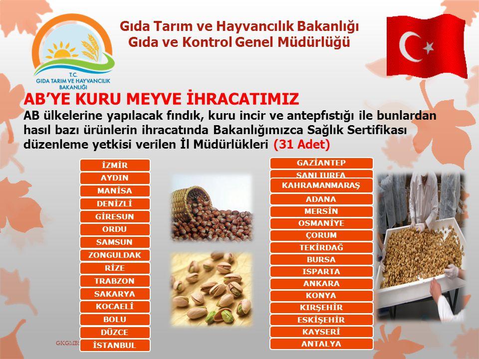 Gıda Tarım ve Hayvancılık Bakanlığı Gıda ve Kontrol Genel Müdürlüğü GKGMBSK-ED2012 AB'YE KURU MEYVE İHRACATIMIZ AB ülkelerine yapılacak fındık, kuru i