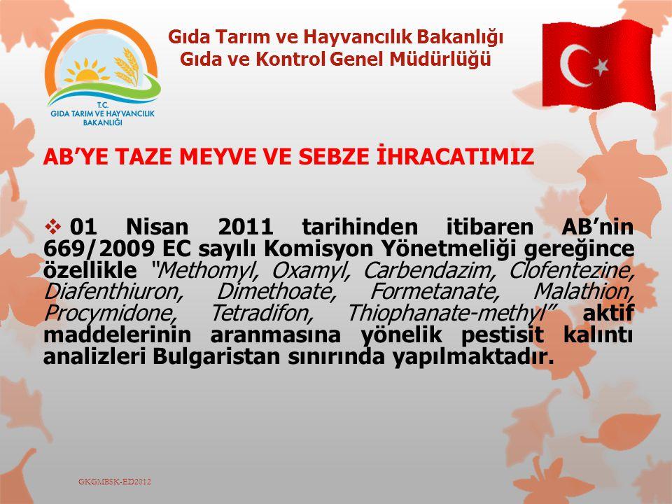 Gıda Tarım ve Hayvancılık Bakanlığı Gıda ve Kontrol Genel Müdürlüğü GKGMBSK-ED2012 AB'YE TAZE MEYVE VE SEBZE İHRACATIMIZ  01 Nisan 2011 tarihinden it