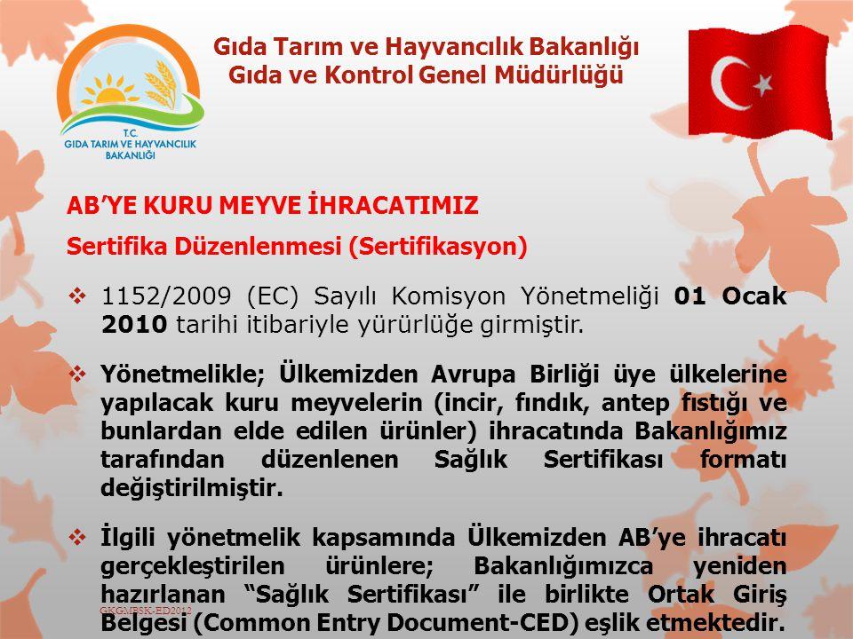Gıda Tarım ve Hayvancılık Bakanlığı Gıda ve Kontrol Genel Müdürlüğü GKGMBSK-ED2012 AB'YE KURU MEYVE İHRACATIMIZ Sertifika Düzenlenmesi (Sertifikasyon)