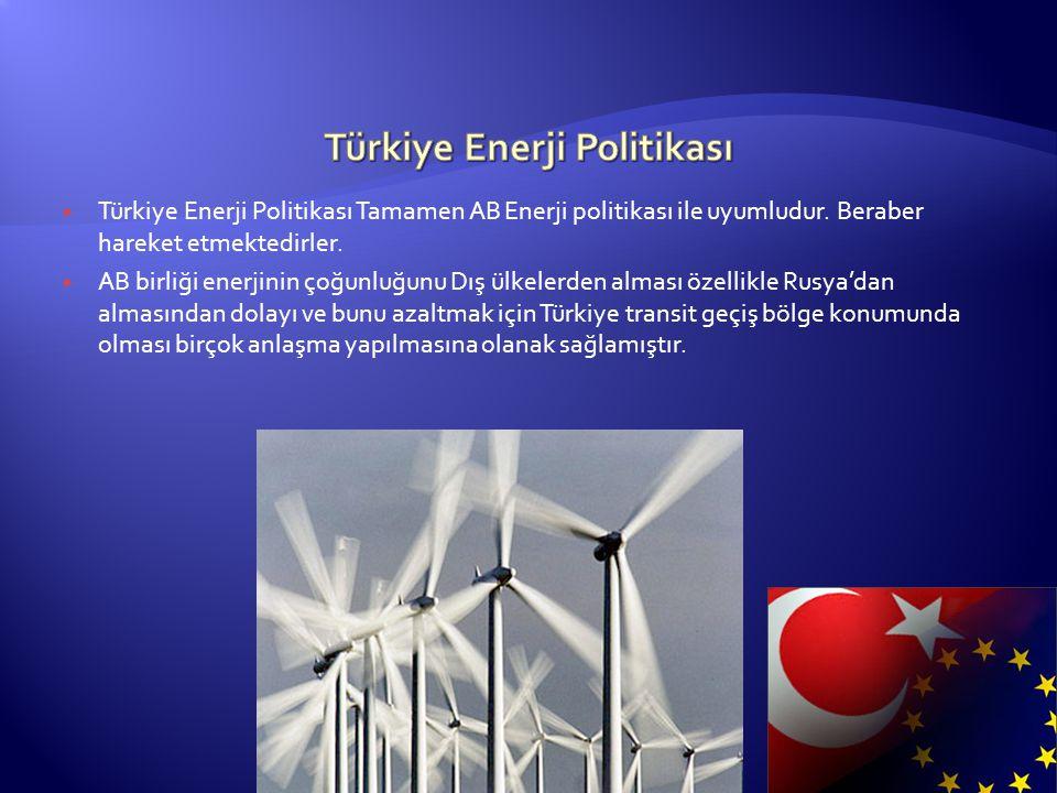  Türkiye Enerji Politikası Tamamen AB Enerji politikası ile uyumludur. Beraber hareket etmektedirler.  AB birliği enerjinin çoğunluğunu Dış ülkelerd