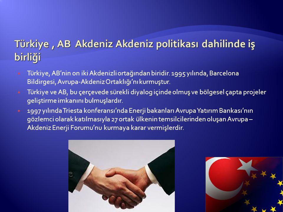  Türkiye, AB'nin on iki Akdenizli ortağından biridir. 1995 yılında, Barcelona Bildirgesi, Avrupa-Akdeniz Ortaklığı'nı kurmuştur.  Türkiye ve AB, bu