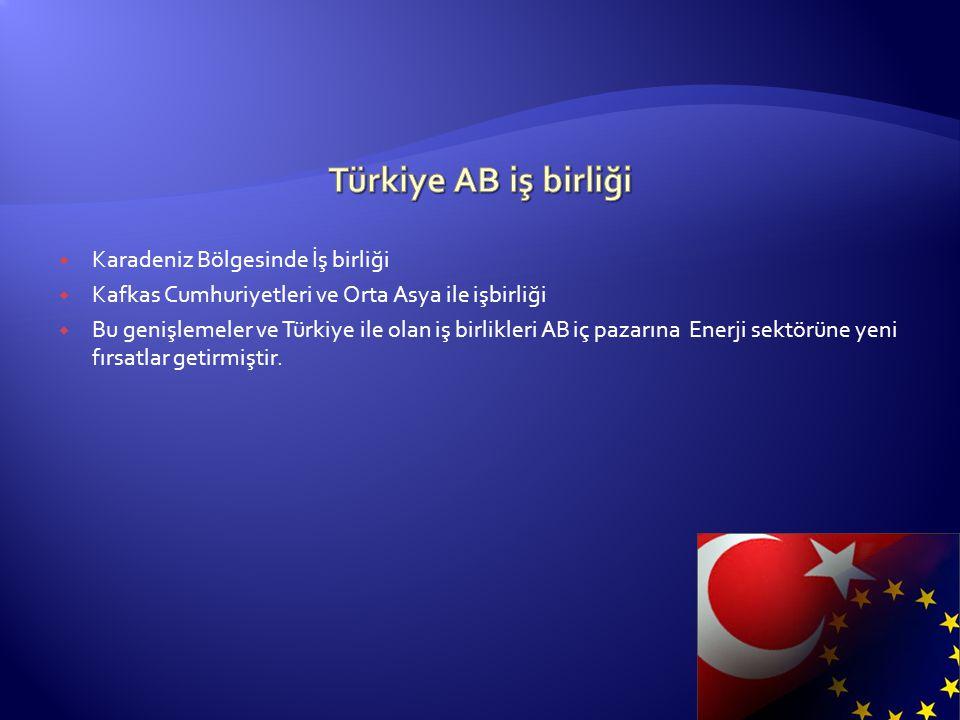  Karadeniz Bölgesinde İş birliği  Kafkas Cumhuriyetleri ve Orta Asya ile işbirliği  Bu genişlemeler ve Türkiye ile olan iş birlikleri AB iç pazarın