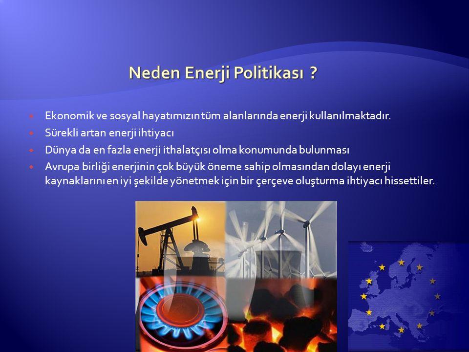  Ekonomik ve sosyal hayatımızın tüm alanlarında enerji kullanılmaktadır.  Sürekli artan enerji ihtiyacı  Dünya da en fazla enerji ithalatçısı olma