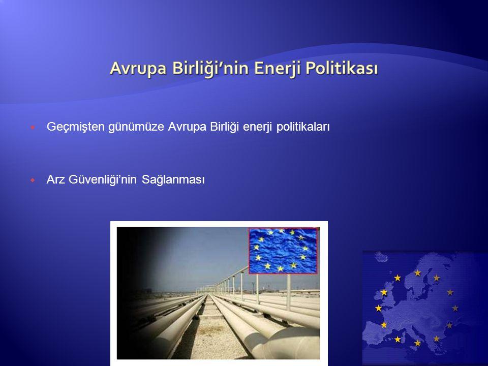 Geçmişten günümüze Avrupa Birliği enerji politikaları  Arz Güvenliği'nin Sağlanması
