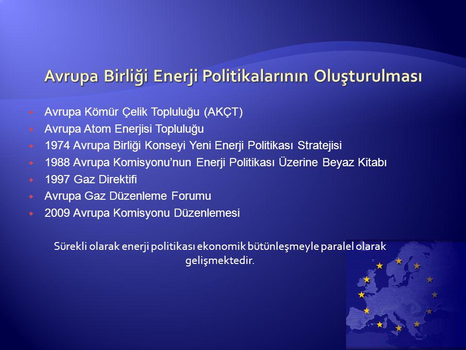  Avrupa Kömür Çelik Topluluğu (AKÇT)  Avrupa Atom Enerjisi Topluluğu  1974 Avrupa Birliği Konseyi Yeni Enerji Politikası Stratejisi  1988 Avrupa Komisyonu'nun Enerji Politikası Üzerine Beyaz Kitabı  1997 Gaz Direktifi  Avrupa Gaz Düzenleme Forumu  2009 Avrupa Komisyonu Düzenlemesi Sürekli olarak enerji politikası ekonomik bütünleşmeyle paralel olarak gelişmektedir.