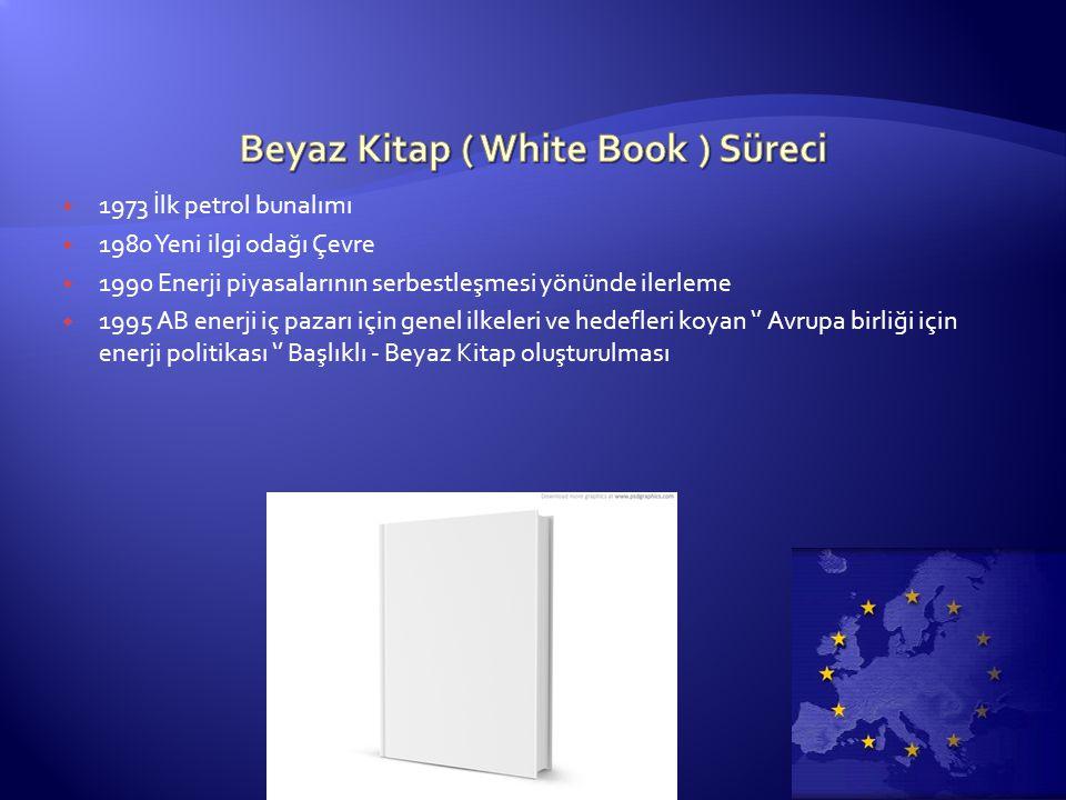  1973 İlk petrol bunalımı  1980 Yeni ilgi odağı Çevre  1990 Enerji piyasalarının serbestleşmesi yönünde ilerleme  1995 AB enerji iç pazarı için genel ilkeleri ve hedefleri koyan '' Avrupa birliği için enerji politikası '' Başlıklı - Beyaz Kitap oluşturulması