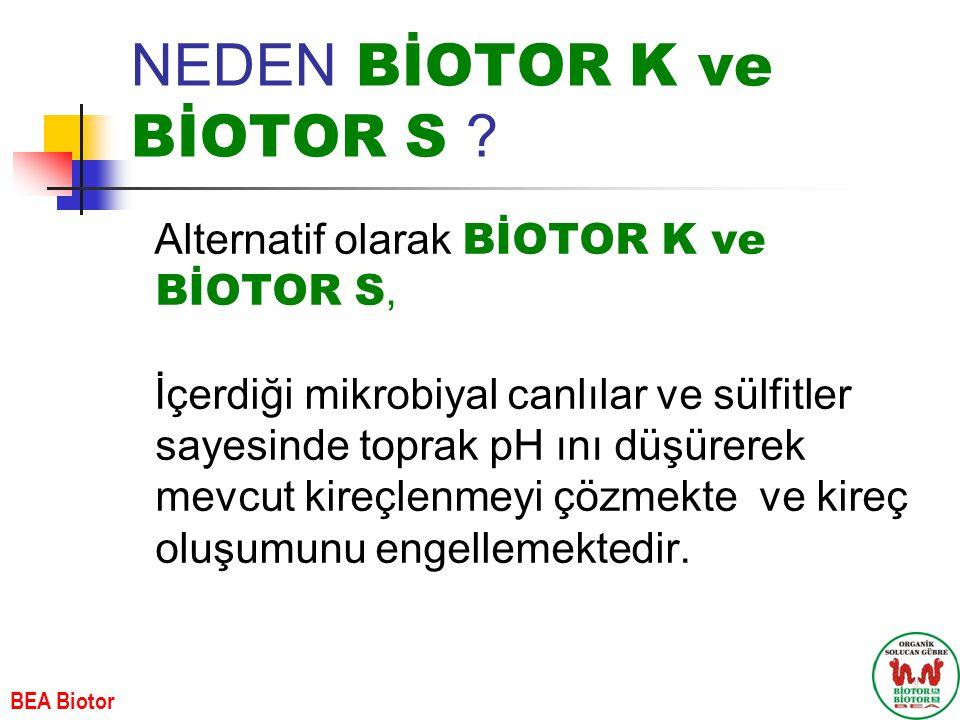 NEDEN BİOTOR K ve BİOTOR S ? Alternatif olarak BİOTOR K ve BİOTOR S, İçerdiği mikrobiyal canlılar ve sülfitler sayesinde toprak pH ını düşürerek mevcu
