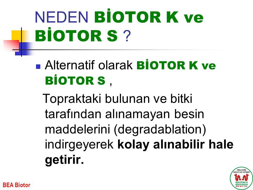 NEDEN BİOTOR K ve BİOTOR S ? Alternatif olarak BİOTOR K ve BİOTOR S, Topraktaki bulunan ve bitki tarafından alınamayan besin maddelerini (degradablati