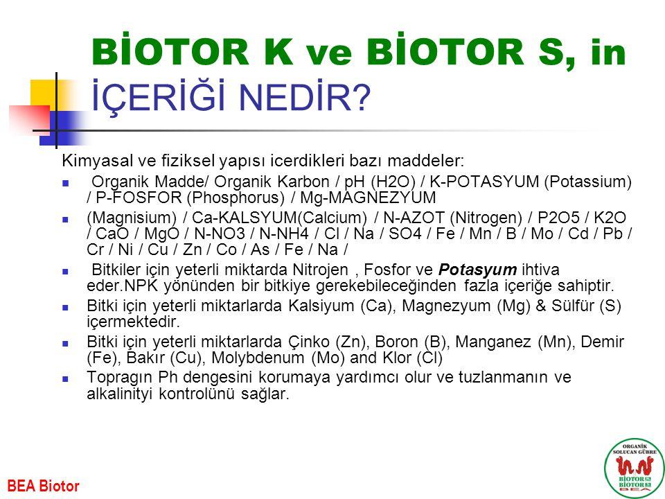BİOTOR K ve BİOTOR S, in İÇERİĞİ NEDİR? Kimyasal ve fiziksel yap ı s ı icerdikleri baz ı maddeler: Organik Madde/ Organik Karbon / pH (H2O) / K-POTASY