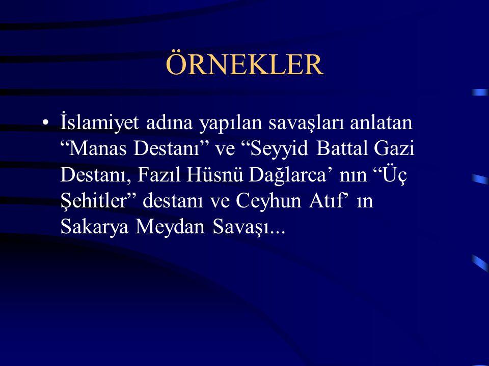 2.YAPAY DESTANLAR Herhangi bir önemli olayın destan kurallarına bağlı olarak sonradan yazılmasıdır. Türk edebiyatında yapay destanlara şunları örnek v