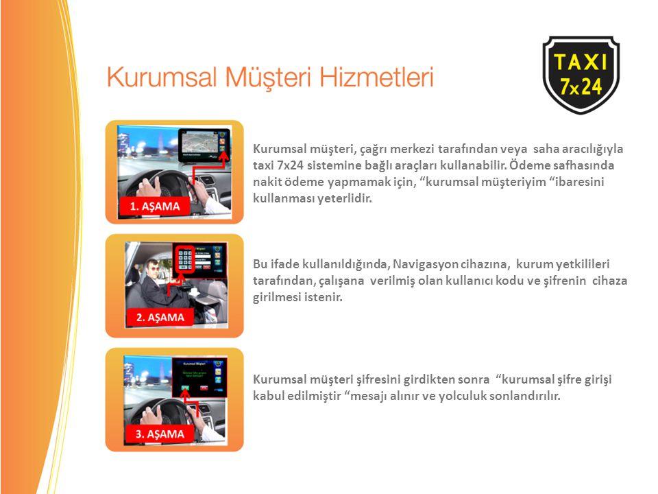 Kurumsal müşteri, çağrı merkezi tarafından veya saha aracılığıyla taxi 7x24 sistemine bağlı araçları kullanabilir.